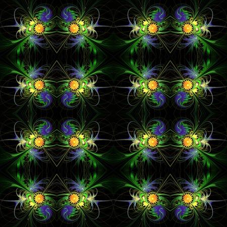 carpet flooring: Flower background in fractal design. Blue and orange palette. On black. Computer generated graphics.