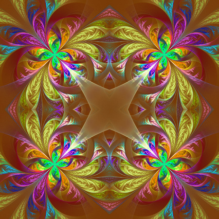 tracery: Symmetric multicolored fractal tracery. Collection - frosty pattern. On brown.