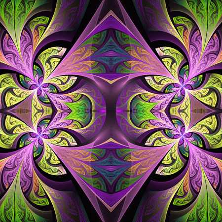 carpet flooring: Symmetrical flower pattern in stained-glass window style. Green and purple palette. Artwork for creative design, art and entertainment.