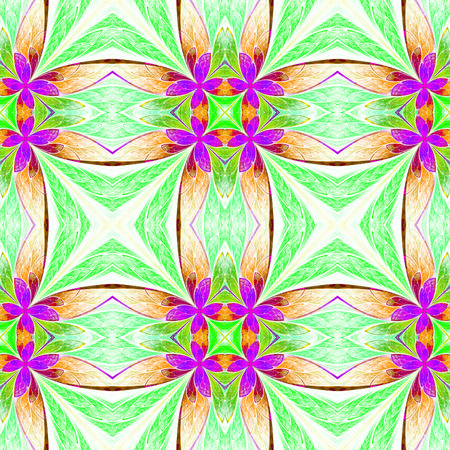 light brown: Symmetrical flower pattern in stained-glass window style on light. Green, purple and  brown palette. Computer generated graphics.