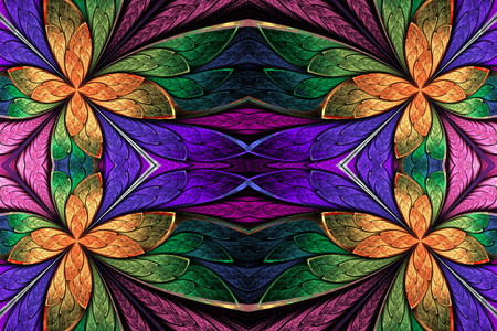 glass windows: Symmetrical flower pattern in stained-glass window style on dark. Green, violet and  orange palette. Computer generated graphics.