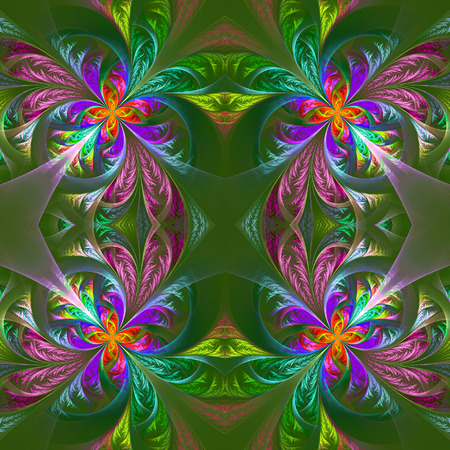 tracery: Symmetric multicolored fractal tracery. Collection - frosty pattern. On green.