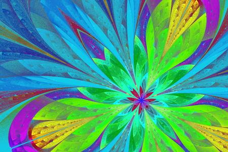 色とりどりのフラクタル花やステンド グラスの窓スタイルの蝶。創造的なデザインやアート、エンターテイメント作品。