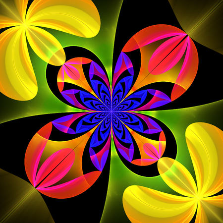 puzzle corners: Diagonal symmetrical pattern of the flower petals. Blue, yellow and pink palette. Computer generated graphics. Stock Photo