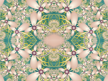 fractal pink: Flower pattern in fractal design. Green and pink palette. Computer generated graphics. Stock Photo