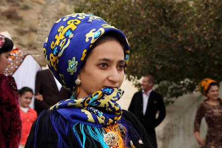 Kov-Ata, Turkmenistan - October 18. Portrait of unidentified  Asian woman in a headscarf. Kov-Ata, Turkmenistan - October 18. 2015.