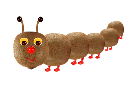 tomato caterpillar: Creative food concept. Funny little  caterpillar made from fruit and vegetables