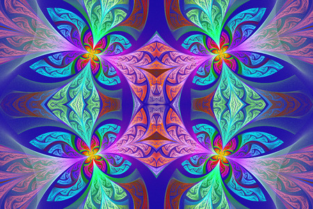 carpet flooring: Multicolored Symmetrical flower pattern in stained-glass window style. Artwork for creative design, art and entertainment.