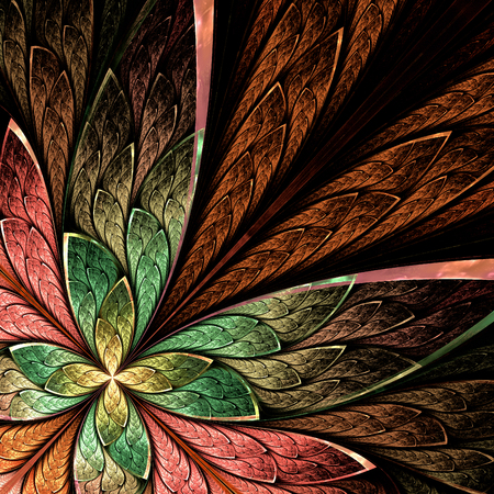 puzzle corners: Beautiful fractal flower or butterfly in stained glass window style on black. Green, beige and pink palette. Computer generated graphics.
