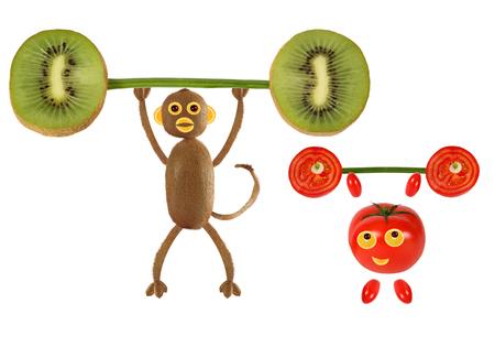 eat cartoon: Group of funny vegetables raises the bar