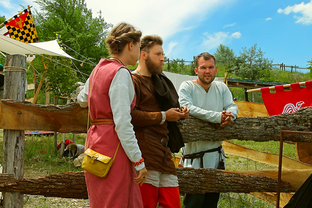 involving: Vatra, Moldova. June 28, 2015. Medieval Festival. Historic clubs from Europe - theatrical performances involving the troubadours, knights. Tent camp. Editorial