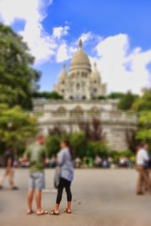 creativ: Abstract background. Sacre Coeur Cathedral.  Blur effect defocusing filter applied