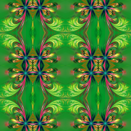 feelers: Beautiful symmetrical background from fractal tracery. On green. Stock Photo