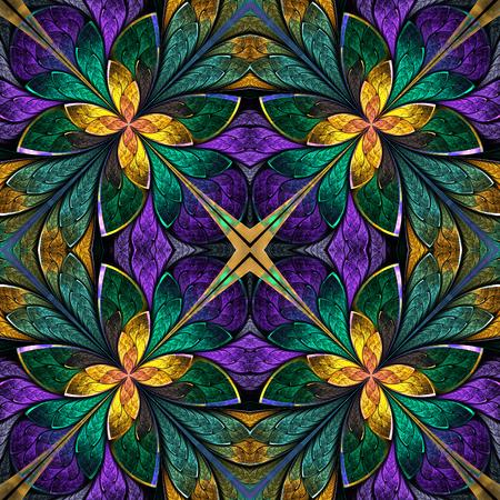 ステンド グラスの窓スタイルで色とりどりの対称的なフラクタル パターン。生成したコンピュータ グラフィックス。 写真素材
