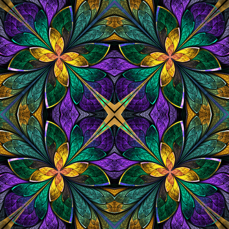 Multicolored symmetrical fractal pattern in stained-glass window style. Computer generated graphics. 스톡 콘텐츠