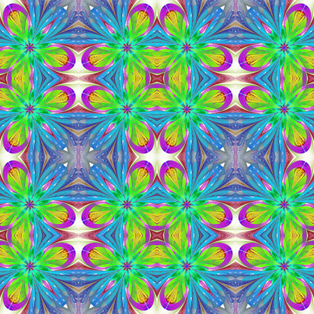 puzzle corners: Multicolored symmetrical pattern in stained-glass window style on light. Artwork for creative design, art and entertainment.