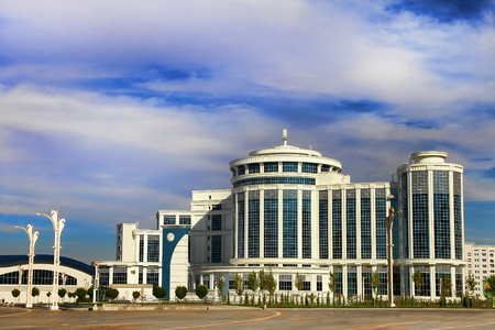 Ashgabat, Turkmenistan - October 20, 2015.  Part of the complex - Olympic Village (Ashgabat, 2017). October 20, 2015.  Ashgabat first in the Central Asian region has received the right to host the Asian Indoor Games Editorial