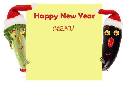 zucchini: Creative food concept. Funny small zucchini and eggplant in a Santa Claus hat look and smile with sample text. Stock Photo