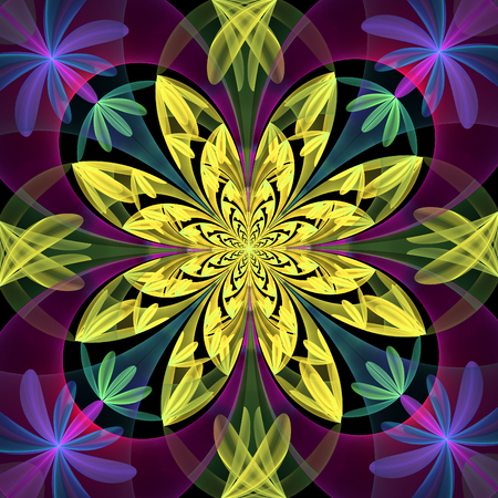 yelow: Fabulous symmetrical pattern of the petals. Yelow and purple palette.  You can use it for invitations, notebook covers, phone case, postcards, cards and so on. Computer generated graphics.