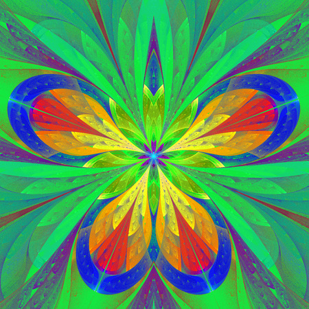 puzzle corners: Beautiful multicolored fractal flower or butterfly in stained glass window style. You can use it for invitations, notebook covers, phone case, postcards, cards and so on. Artwork for creative design, art and entertainment.