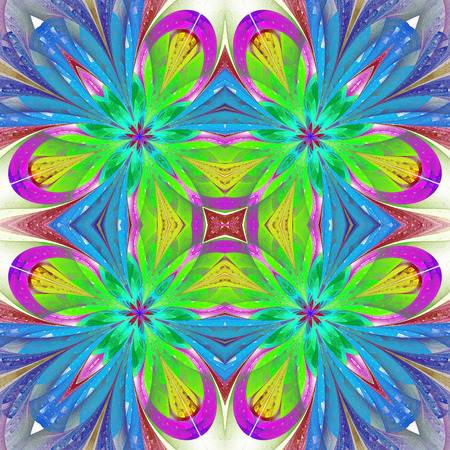puzzle corners: Multicolored symmetrical pattern in stained-glass window style on light. You can use it for invitations, notebook covers, phone case, postcards, cards and so on. Artwork for creative design, art and entertainment.