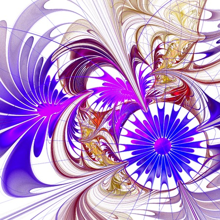 graphics design: Flower background. Blue and purple palette. Fractal design. You can use it for invitations, notebook covers, phone case, postcards, cards and so on. Computer generated graphics.