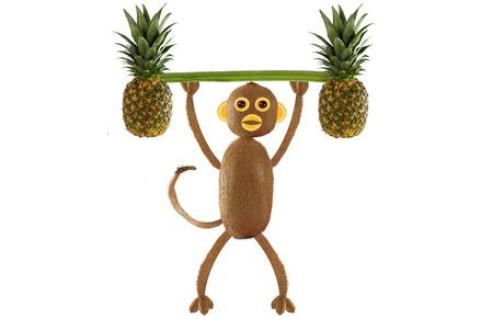 cocina caricatura: Concepto de comida creativa. c�mico monito del kiwi Foto de archivo