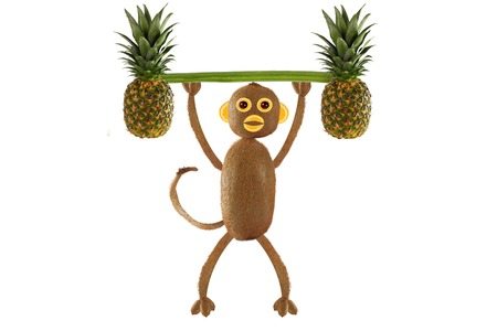 cooking food: Creative food concept. Funny little monkey of the kiwi Stock Photo