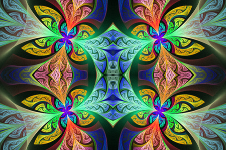 Multicolored Symmetrical flower pattern in stained-glass window style. You can use it for invitations, notebook covers, phone case, postcards, cards and so on. Artwork for creative design, art and entertainment.