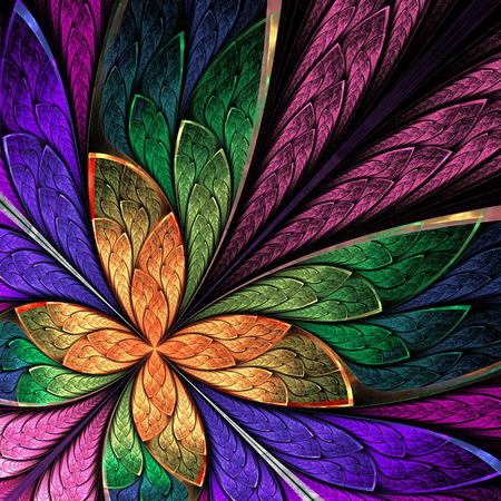 Beautiful multicolored fractal flower or butterfly in stained glass window style. You can use it for invitations, notebook covers, phone case, postcards, cards and so on. Computer generated graphics.