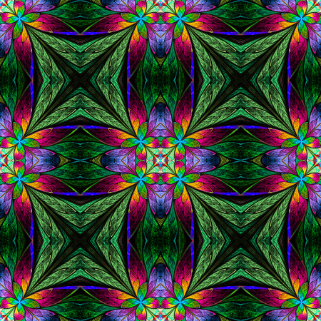 window case: Symmetrical multicolored flower pattern in stained-glass window style on green.  You can use it for invitations, notebook covers, phone case, postcards, cards and so on. Computer generated graphics. Stock Photo