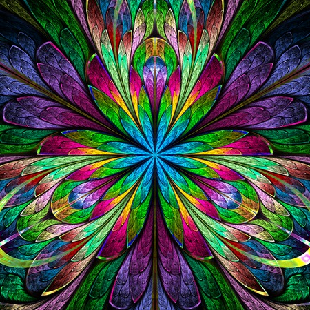 window case: Multicolored symmetrical fractal flower in stained-glass window style. You can use it for invitations, notebook covers, phone case, postcards, cards and so on. Computer generated graphics.