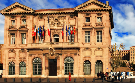 marseille: FRANCE, MARSEILLE -October 19, 2015: The city hall in Marseille.  Old port (Vieux-Port). Marseille is Frances largest city on the Mediterranean coast and largest commercial port. MARSEILLE - October 19, 2015.