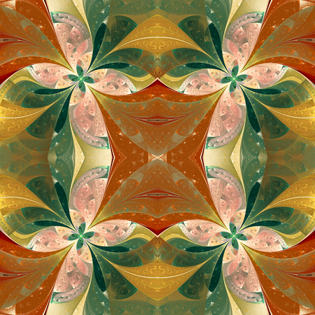 window case: Beautiful symmetrical pattern in stained-glass window style. You can use it for invitations, notebook covers, phone case, postcards, cards and so on. Stock Photo