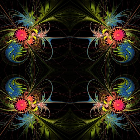 carpet and flooring: Flower background in fractal design. Green and red palette. You can use it for invitations, notebook covers, phone case, postcards, cards and so on.