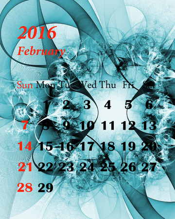 february calendar: 2016. February. Calendar with beautiful fractal pattern. Stock Photo