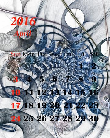 april beautiful: 2016. April. Calendar with beautiful fractal pattern.