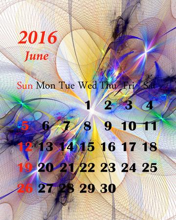 june: 2016. June. Calendar with beautiful fractal pattern.