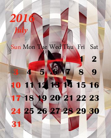calendario julio: 2016 julio. Calendario con un hermoso patrón fractal. Foto de archivo