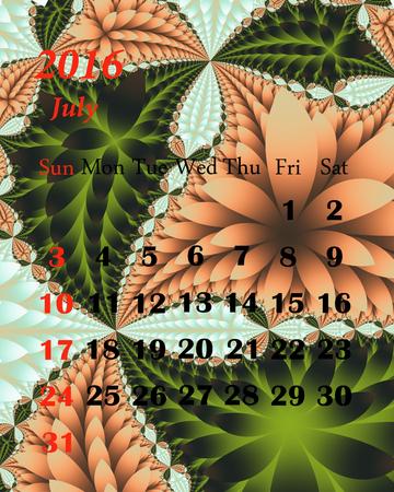 july calendar: 2016. July. Calendar with beautiful fractal pattern. Stock Photo