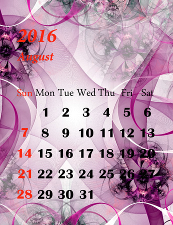august calendar: 2016. August. Calendar with beautiful fractal pattern. Stock Photo