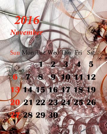 calendario noviembre: 2016. noviembre. Calendario con hermoso patr�n fractal. Foto de archivo
