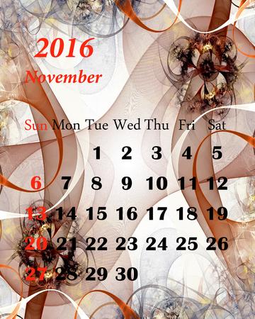 calendario noviembre: 2016. noviembre. Calendario con hermoso patrón fractal. Foto de archivo