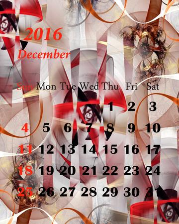 december: 2016. December. Calendar with beautiful fractal pattern. Stock Photo