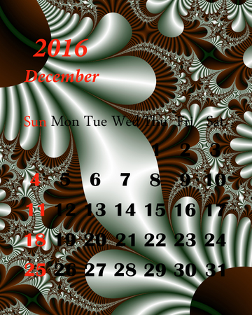 in december: 2016. December. Calendar with beautiful fractal pattern. Stock Photo