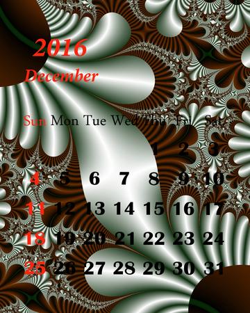 december calendar: 2016. December. Calendar with beautiful fractal pattern. Stock Photo