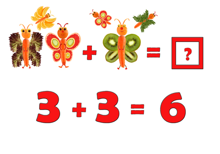 enumerate: Illustration of Education Mathematics for Preschool Children. The figures are made of fruits and vegetables for the development of figurative and abstract thinking. Stock Photo