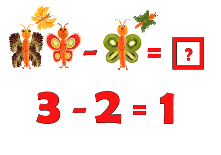 Illustration of Education Mathematics for Preschool Children. The figures are made of fruits and vegetables for the development of figurative and abstract thinking. Stock Photo