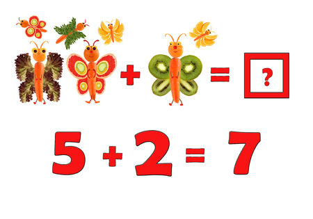 figurative: Illustration of Education Mathematics for Preschool Children. The figures are made of fruits and vegetables for the development of figurative and abstract thinking. Stock Photo