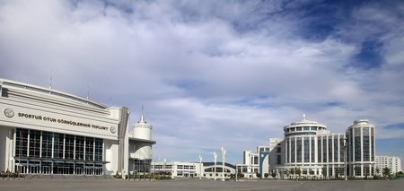 martial ways: Ashgabat, Turkmenistan - October 20, 2015.  Part of the sport complex.  5 th Asian Indoor Games and martial arts, which will be held in Ashgabat (Turkmenistan) in 2017, from September 15 to 24. Ashgabat, Turkmenistan - October 20, 2015. Editorial